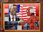 Игра Сортируйте мои мозаики Obama и человек-паук