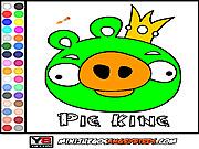 Игра Раскрась короля поросенка