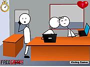 Игра Поцелуй Стикмана в офисе