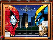 Игра Сортируйте моего человека-паука мозаик и росомаху