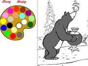 Игра Маша и Медведь - Раскраска с самоваром