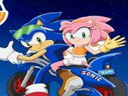 Игра Сега Соник и Эмми на мотоцикле